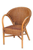 Wattled chair. The old outdoor wooden chair, close-up Stock Photography
