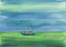 Watwrcolor-Hintergrund Lustiges Boot, das auf das Meer schwimmt Stockfoto
