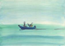 Watwrcolor-Hintergrund Lustiges Boot, das auf das Meer schwimmt Lizenzfreie Stockfotografie