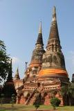 Watyaichaimongkol寺庙的古老塔在Ayudhaya,泰国 免版税库存照片