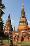 Watyaichaimongkol寺庙的古老塔在Ayudhaya,泰国 免版税图库摄影