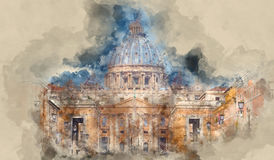 Watykan w Rzym - zadziwiający widok nad St Peter s bazyliką ilustracji