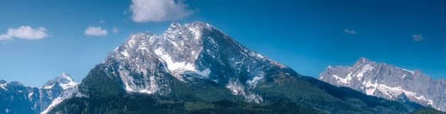 Watzmann mount near Konigssee lake, Berchtesgaden. Beautiful view of Watzmann mountain near Konigssee lake in Berchtesgaden National Park, Upper Bavarian Alps Stock Photos