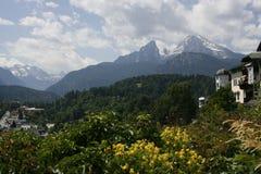 Watzmann Mountain, Austria. A scenic view across a valley to Mount Watzmann in the Austrian Alps in the distance Royalty Free Stock Photos