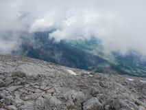 Watzmann rampicante della cresta della montagna in Germania Fotografie Stock