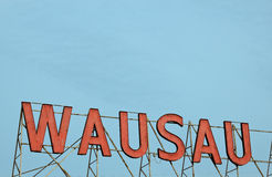 Wausau - red sign against blue sky Stock Photography
