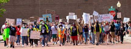 Wausau, Wisconsin, USA - June, 6, 2020 protesters for black lives matter are  marching on 4th st. towards city hall