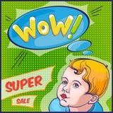 Wauw! Affiche met gelukkige jongen Stock Foto