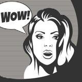 Wauw Bel Verraste Vrouw vector illustratie