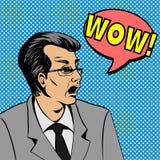 Wauw gezicht van de bellen het pop-art verraste mens Pop-artillustratie van een grappige stijl, de bel van de mensentoespraak Stock Afbeelding