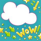 Wauw! Hand getrokken pop-artachtergrond Stock Fotografie