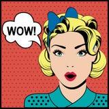 WAUW pop-art verraste vrouw Stock Fotografie