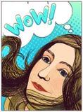 WAUW! Pop-artmeisje Royalty-vrije Stock Afbeeldingen