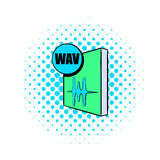 WAV file icon in comics style. On a white background Stock Photo