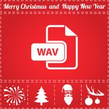 WAV Icon Vector. And bonus symbol for New Year - Santa Claus, Christmas Tree, Firework, Balls on deer antlers Royalty Free Stock Photography