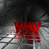Wav tag in abstract futuristic space. 3d rendering Royalty Free Stock Photo