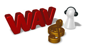 Wav tag and pawn with headphones - 3d rendering. Wav tag, clef symbol and pawn with headphones - 3d rendering Stock Image