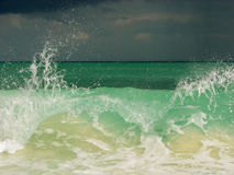 The Wave. The devastating wave on Playa del Carmen beach, Mexico Royalty Free Stock Photography