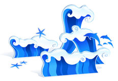 Wave. Drawing of beautiful blue waves and starfish Stock Photo