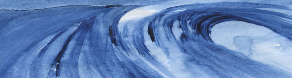 Wave. A hand made drawing of a big blue wave. Watercolors Royalty Free Stock Photo