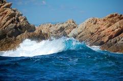 Wave. Blue cresting wave - mediterraneo sardinia Stock Photo