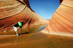 The Wave. Famous rock formation in Pariah Canyon, Vermillion Cliffs national monument, Utah, USA Stock Photography