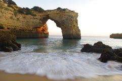 Wave. Splashing in the beach of Albandeira, Algarve Royalty Free Stock Image