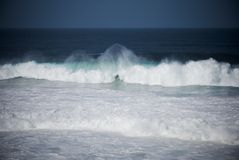 Wave. Strong storm on the coast of galicia Royalty Free Stock Image