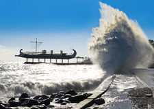 Wave. Big wave on the waterfront royalty free stock photos