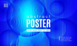 Wave Abstract Background with Color Fluid Shapes. Blue Liquid Shapes. Abstract Poster with Distortion of Wave Stripes. Vector Gradient Background with Movement royalty free illustration