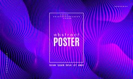 Wave Abstract Background with Color Fluid Shapes. Wave Poster with Fluid Shapes. Gradient Abstract Background with Movement of Wave Liquid Forms. Linear royalty free illustration