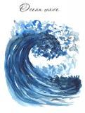 Wave, acquerello di tsunami dell'oceano illustrazione vettoriale