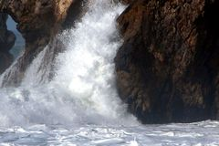 Wave Action 3. Pacifica, California during a winter storm royalty free stock images