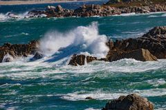 Wave Action. Pacific Grove, California - USA; February 20, 2018; Located between Monterey and Pebble Beach, visitors and residents to Pacific Grove enjoy Stock Photography