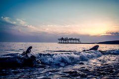 Wave al tramonto, nuovo Athos Immagini Stock