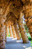 Wave Archway, Park Guell, Barcelona . Spain. Colonnade of the undulating arches of stone in the Park Guell in Barcelona. Spain Stock Photos