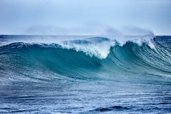 Wave in Atlantic Ocean. Ocean Wave in stormy wearher stock image