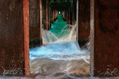 Wave attack under bridge. For imagination Stock Images