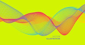 Wave background. Abstract vector illustration. 3d technology style. Network design with particle vector illustration