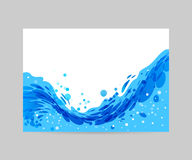 Wave background, brochure design. Wave abstract stylized background, brochure template, blue wave on white background vector illustration