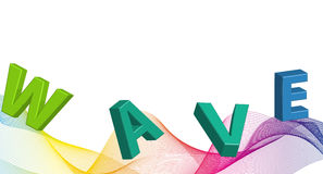 Wave on background. Dynamic soft wavy background with text wave Royalty Free Stock Photo