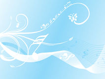 Wave background with floral and musical note Royalty Free Stock Photo