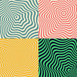 Wave background. Set of colored abstract patterns. In the form of concentric monotonic curves. Retro colors. Backdrop for postcards, business cards, packaging Stock Photography