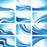 Wave Backgrounds. Set of 12 blue wave icon images Royalty Free Stock Photo