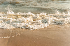 Wave of the bad sea. On the sand beach Royalty Free Stock Image
