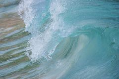 Wave Barrell curling. Surf Wave Barrell curling before crashing stock photo