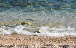 Wave on Beach. Clear water in Adriatic Sea Stock Image