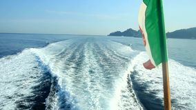 Wave behind the boat stock video footage
