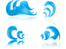 Wave in blue. Water wave in blue paitern with white background Stock Photos