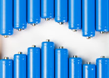 Wave of blue batteries Royalty Free Stock Photo